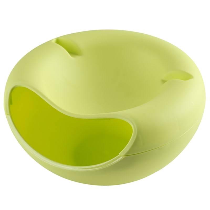 Подвійна тарілка-миска SUNROZз відсіком для лушпиння і кісточок і підставкою для телефонуЗелений (SUN5370)