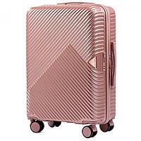 Чемодан дорожный на 4 колесах Wings 701 Средний (M) Розовое золото