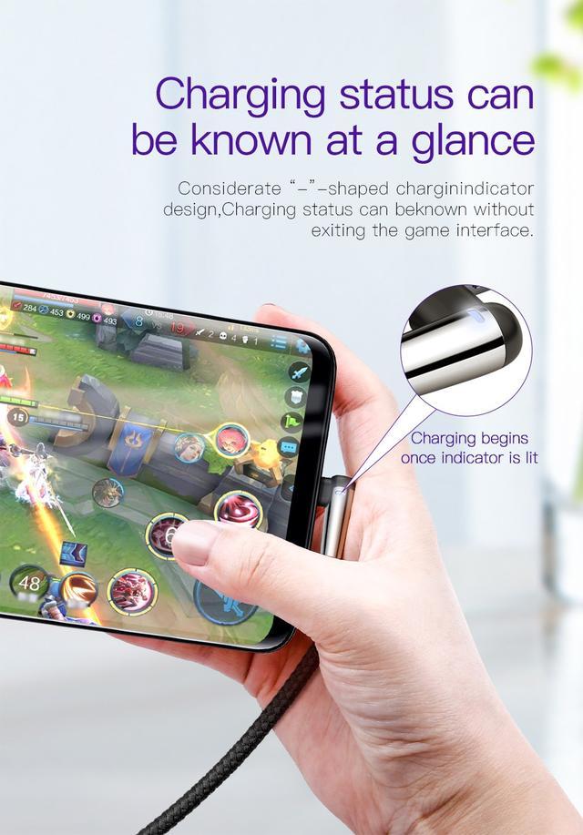 Кабель USB Type-C Baseus MVP Mobile game с угловым коннектором для для зарядки и передачи данных CATMVP-D03 (Черный, 1м)