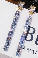 Сріблясті сережки з фіанітами від студії LadyStyle.Biz