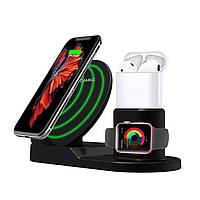 Док станция wireless fast charger 3in1 беспроводная зарядка для трех гаджетов одновременно, фото 1