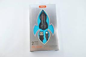 Автомобильное зарядное устройство XO CC-08 2.4A 2 Usb + кабель Micro Usb black