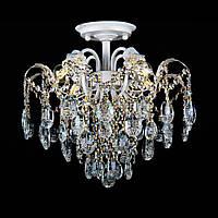 Хрустальная люстра на 4 лампочки белая с золотой патиной СветМира VL-L7097/4 (WG)