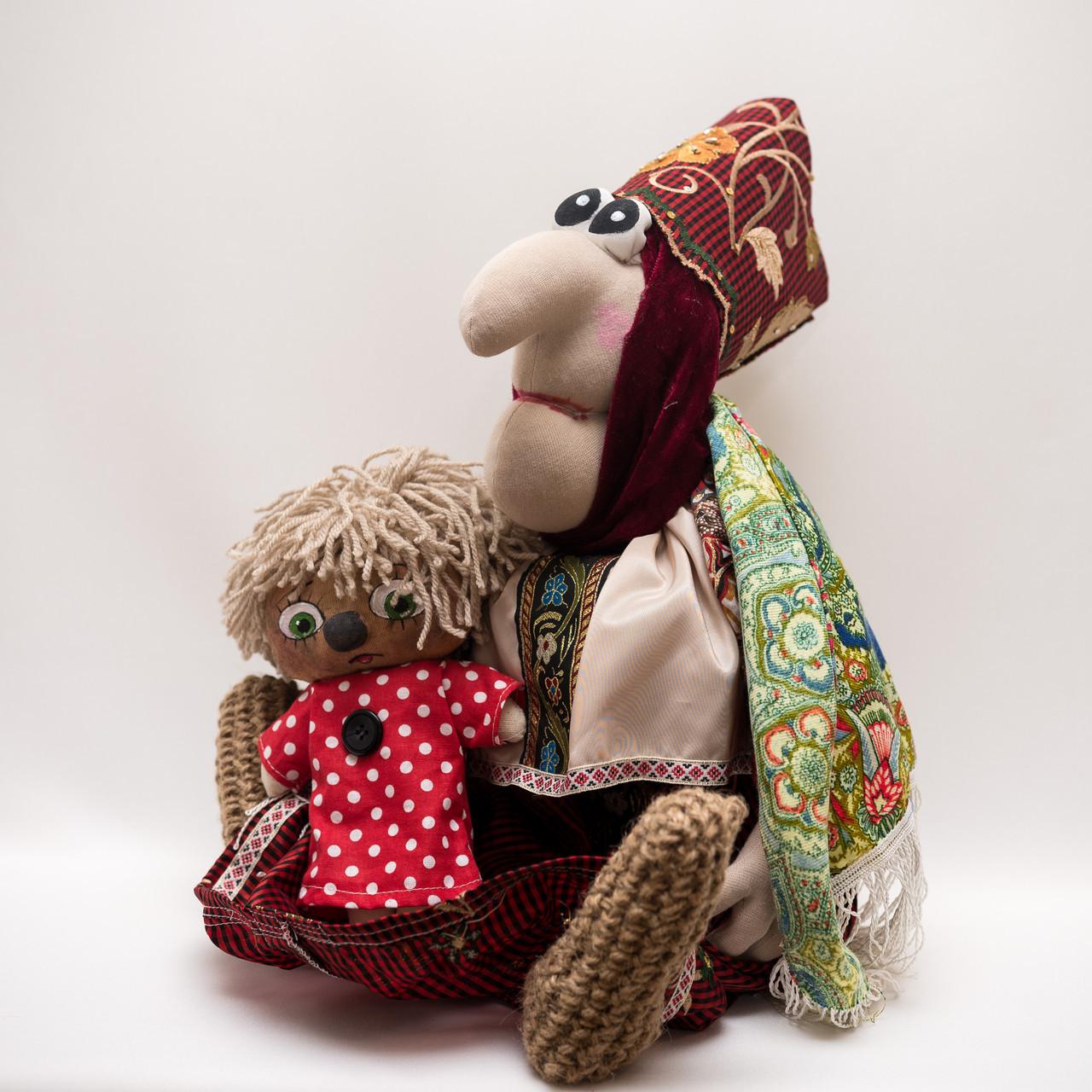 Каркасная интерьерная кукла  малая Vikamade Баба-Яга с Кузей.