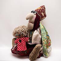 Каркасная интерьерная кукла  малая Vikamade Баба-Яга с Кузей., фото 1