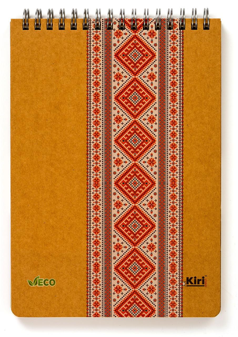 """Эко Блокнот А5 в линию """"Вышиванка красная"""", крафт-картон 2 мм"""