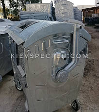 Евроконтейнер 1,1 м3, оцинкованный для ПЭТ, сетчатый с замком на крышке., фото 2