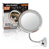 Гибкое зеркало на присоске с подсветкой с 5x увеличением Ultra Flexible Mirror 5X, фото 1