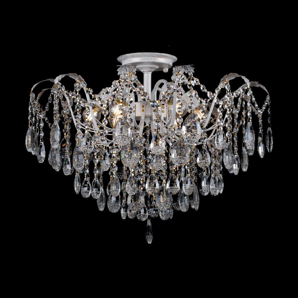 Хрустальная люстра на 6 лампочек белая с золотой патиной СветМира VL-L7097/6
