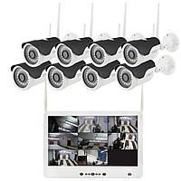 Комплект видеонаблюдения беспроводной DVR KIT Full HD UKC CAD-1308 LCD 13.3' WiFi 8ch набор на 8 камер, фото 1