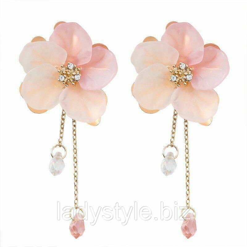 Серьги-пусеты розовые цветы от студии LadyStyle.Biz