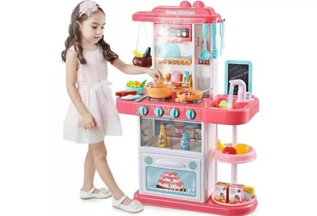 Большая детска кухня с паром /  водой / звуком / светом  / посудой и продуктами 72 см 43 предмета цвет Розовый