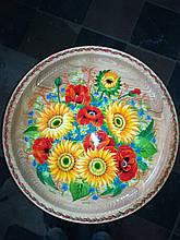 Дерев'яна яна тарілка-сувенір з ручним росписом