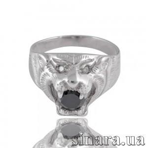Мужская серебряная печатка с обсидианом