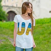 """Женская патриотическая футболка-реглан: """"UA сине-желтая"""" (белая)"""