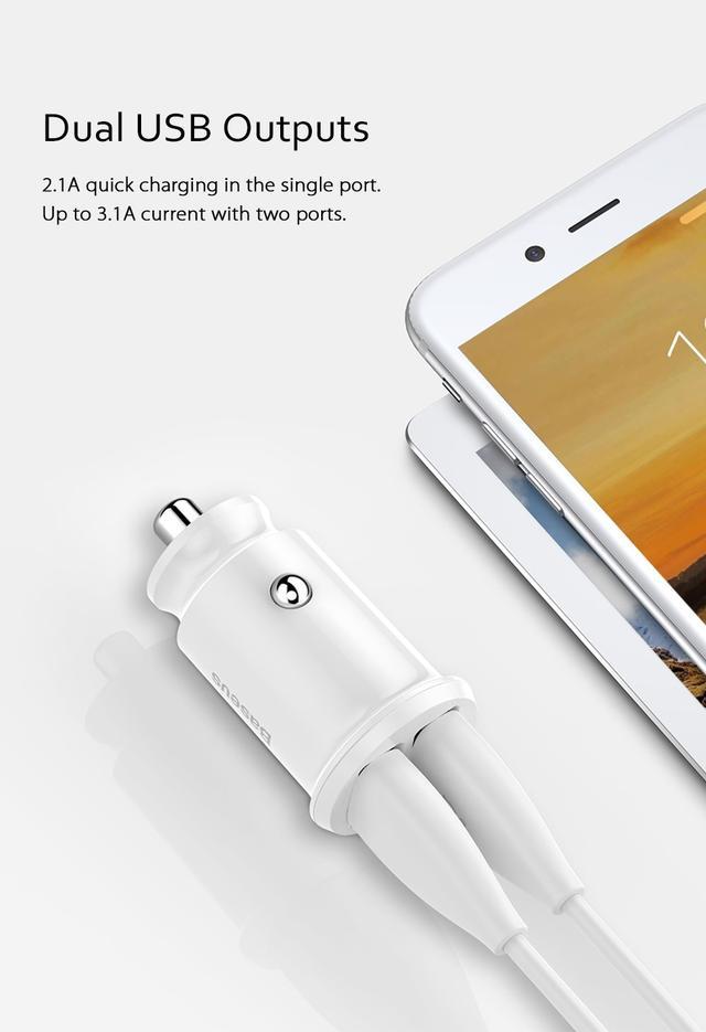 Автомобильное зарядное устройство BASEUS С8-K Grain Mini Smart Car Charger 3.1A (Белое, два USB-порта)