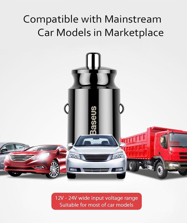 Автомобильное зарядное устройство BASEUS  С8-K Grain Mini Smart Car Charger 3.1A (Ченое, два USB-порта) Совместимость