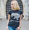"""Женская патриотическая футболка """"Україна - моя країна"""" (черная)"""
