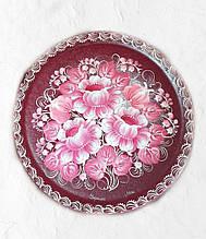 Сувенірна тарілка з дерева з росписом