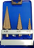 Ступенчатые сверла из быстрорежущей стали HSS-G набор 3 штуки ECEF 1001