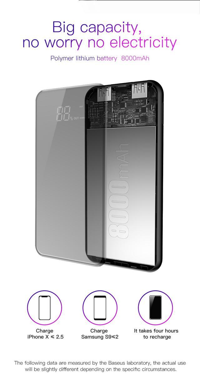 Внешний аккумулятор с беспроводной зарядкой Baseus full screen bracket wireless charge Power Bank 8000mAh