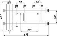 Коллектор стальной с крепл. КГС22В.125.(200) СК-222.125 (с гидрострелкой, выход вверх)