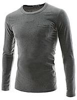 Эластичная футболка с длинным рукавом светло-серого цвета  Размер S