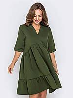 Платье мини зеленое весеннее 44 46 48 50+