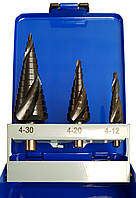 Ступенчатые сверла из быстрорежущей стали HSS-CO + TIAIN спиралевидная режущая кромка набор 3 штуки ECEF 1121