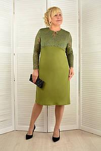 Платье оливковое с кружевными рукавами  - Модель Л544-2