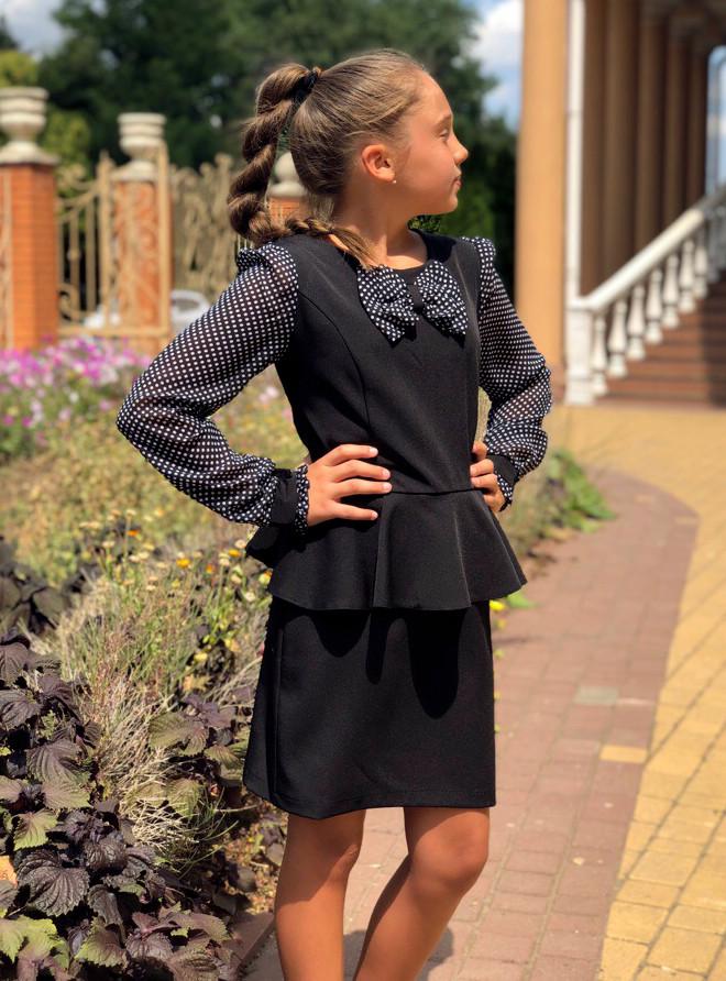 """Детское стильное платье 635 """"Подросток Баска Рукава Бант Шифон Горох"""" в школьных расцветках"""