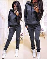 Спортивный теплый женский костюм на флисе с худи 1105712