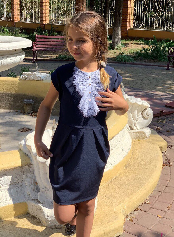 """Детское стильное школьное платье 672 """"Жабо Кружево Контраст"""" в расцветках"""