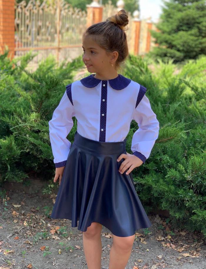 """Дитяча стильна шкільна блузка 721 """"Бавовна Комірець Манжети Горошок Контраст"""" в кольорах"""