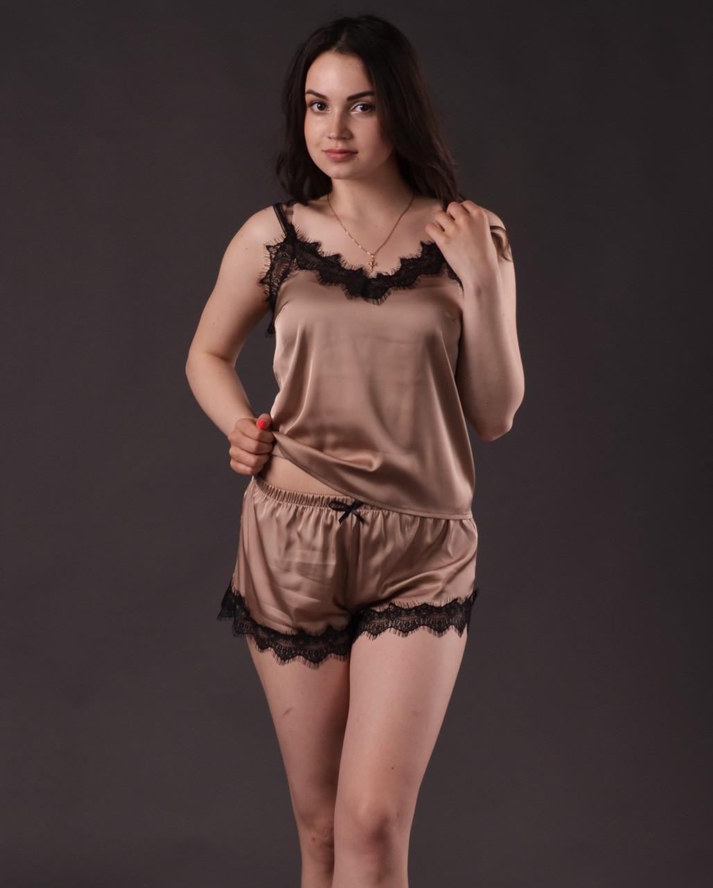 Пижама женская из шелка Армани с французским кружевом Шантильи