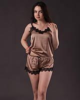 Пижама женская из шелка Армани с французским кружевом Шантильи, фото 1