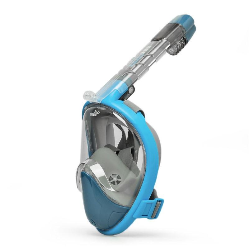 Маска для сноркелінгу TheNice EasyBreath-III на все обличчя для дайвінгу з кріпленням для камери S/M Блакитний (SUN2773)