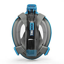 Маска для сноркелінгу TheNice EasyBreath-III на все обличчя для дайвінгу з кріпленням для камери S/M Блакитний (SUN2773), фото 2