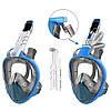Маска для сноркелінгу TheNice EasyBreath-III на все обличчя для дайвінгу з кріпленням для камери S/M Блакитний (SUN2773), фото 4