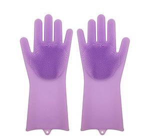 Силіконові рукавиці SUNROZ для миття посуду зі щіточкою Фіолетовий (SUN2572)