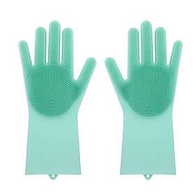Силіконові рукавиці SUNROZ для миття посуду зі щіточкою Зелений (SUN2573)