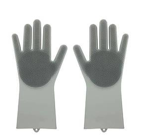 Силіконові рукавиці SUNROZ для миття посуду зі щіточкою Сірий (SUN2574)