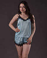 Пижама женская из шелка с французским кружевом Шантильи размеры 42-48