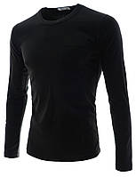 Эластичная футболка с длинным рукавом и карманом на груди  Размер M