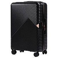 Большой L черный чемодан из поликарбоната премиум серии на 4-х двойных колесах с ТСА замком