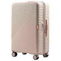Большой L молочный чемодан из поликарбоната премиум серии на 4-х двойных колесах с ТСА замком