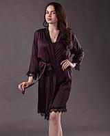 Халат женский из шелка с французским кружевом Шантильи размеры 42-48
