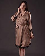 Халат женский из шелка Армани с французским кружевом Шантильи, фото 1