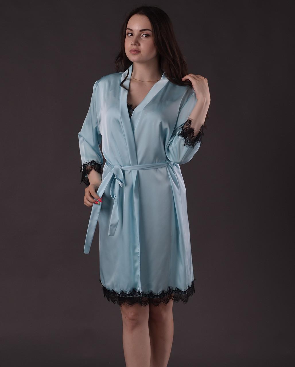 Халат женский из шелка Армани с французским кружевом Шантильи