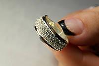 Кольцо из серебра 925 с золотом и усыпкой фианитов
